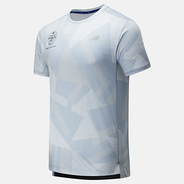 New Balance Popular Brooklyn Half Printed Impact Run Short Sleeve, MT01235FLSL