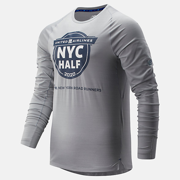 New Balance 2020 United Airlines Half Q Speed Seasonless Long Sleeve, MT01252CAG