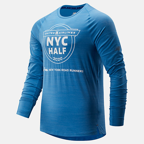 New Balance 2020 United Airlines Half Q Speed Seasonless Long Sleeve, MT01252CMB2