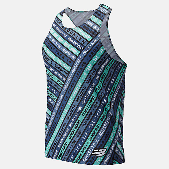 New Balance Popular Brooklyn Half Event Singlet, MT01298FNMT