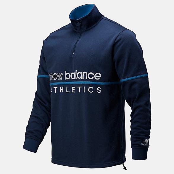 New Balance Haut à fermeture à glissière un quart NB Athletics Track, MT01506NGO
