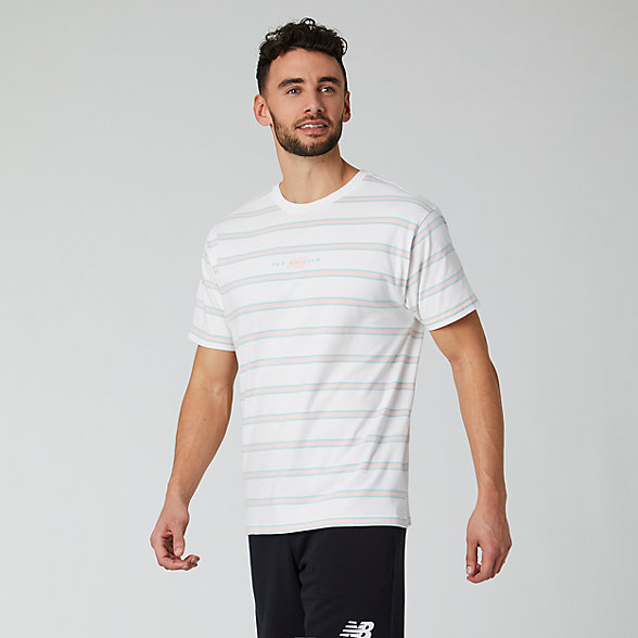 NB NB Athletics Prep Stripe T-Shirt, MT01514WT