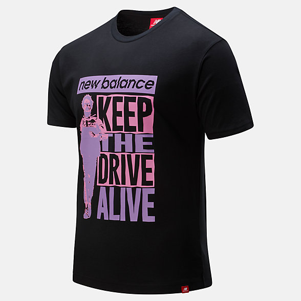 New Balance Essentials Lofi Keep The Drive Alive Tee, MT01555BK
