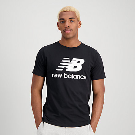 New Balance Essentials Stacked Logo Tee, MT01575BK image number null