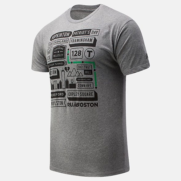 New Balance Boston Map Graphic Tee, MT01605ZAG