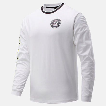 New Balance NB Basketball First Light Long Sleeve Tee, MT01678WT image number null