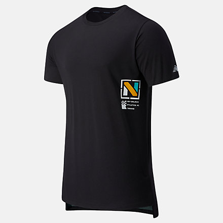 New Balance R.W.T. Graphic Heathertech Tee, MT03062BM image number null