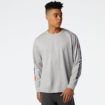 New Balance R.W.T. Graphic Long Sleeve Heathertech Tee, MT03063AG image number null