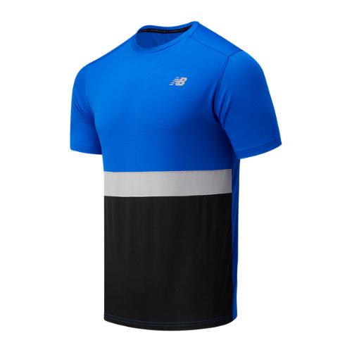 new balance men's striped accelerate short sleeve