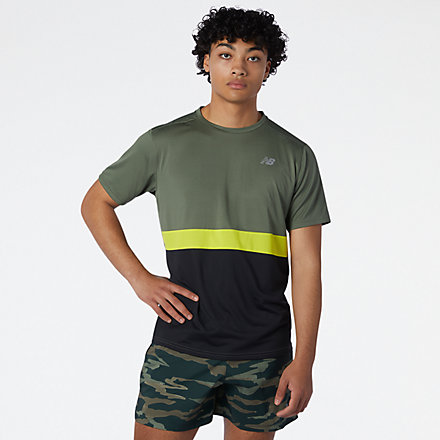 NB Striped Accelerate Short Sleeve, MT03207NSE image number null