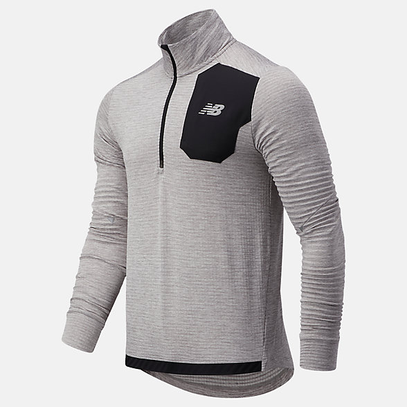 New Balance 男款半拉链长袖T恤, MT03255AG