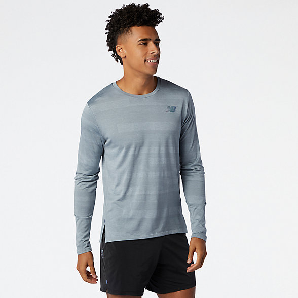 NB Q Speed Fuel Jacquard Long Sleeve, MT03262AG