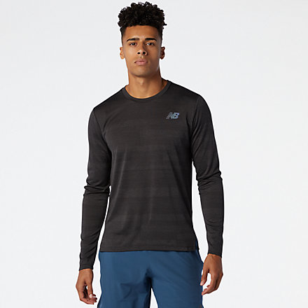 NB Q Speed Fuel Jacquard Long Sleeve, MT03262BKH image number null