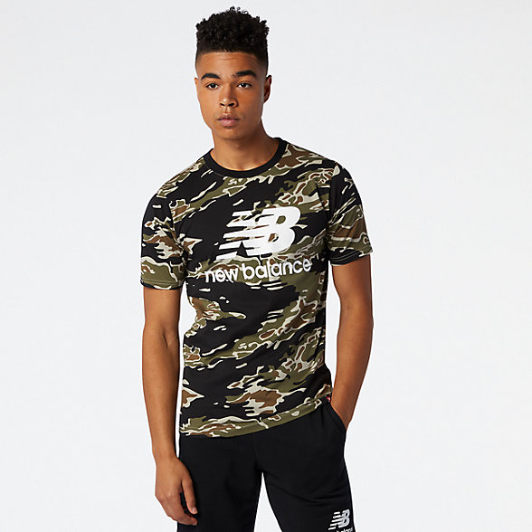 NB Essentials Stacked Logo Tee Camo, MT03548BM