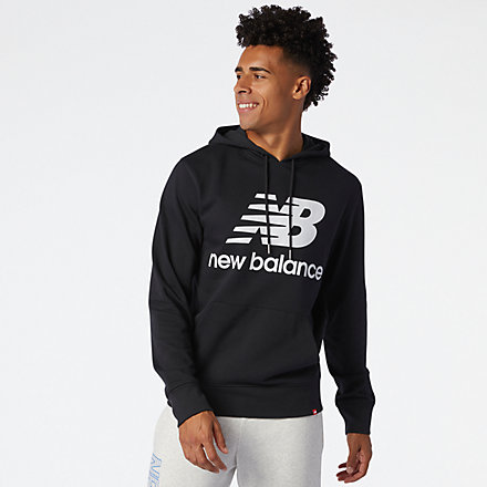 New Balance NB Essentials Stacked Logo Po Hoodie, MT03558BK image number null