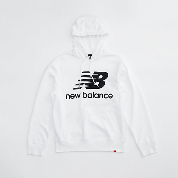 New Balance NB Essentials Stacked Logo Po Hoodie, MT03558WT