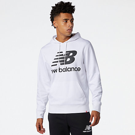 NB NB Essentials Stacked Logo Po Hoodie, MT03558WT image number null