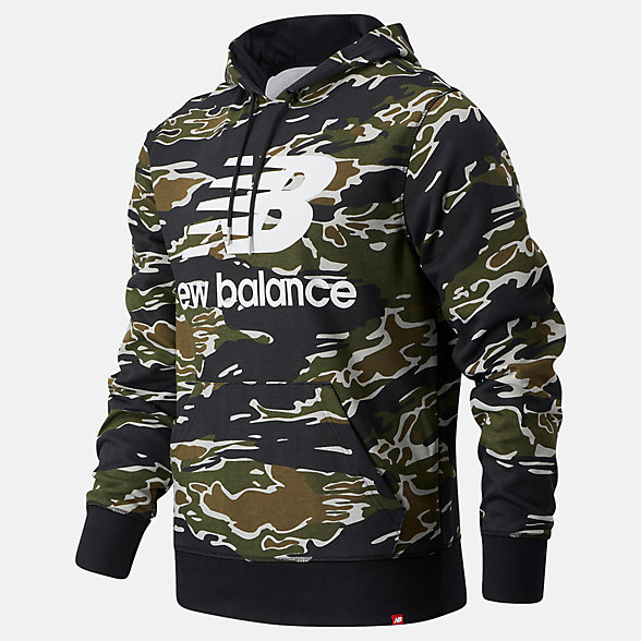 New Balance Essentials Stacked Po Hoodie AOP, MT03559BM