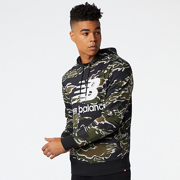 NB Essentials Stacked Po Hoodie Camo, MT03559BM