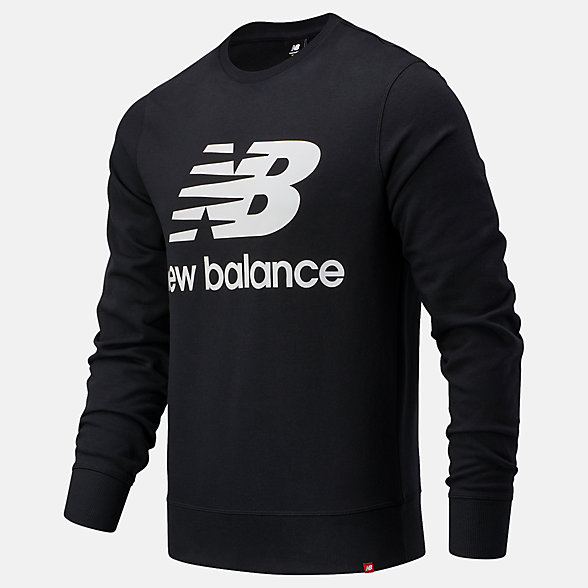 New Balance NB Essentials Stacked Logo Crew, MT03560BK