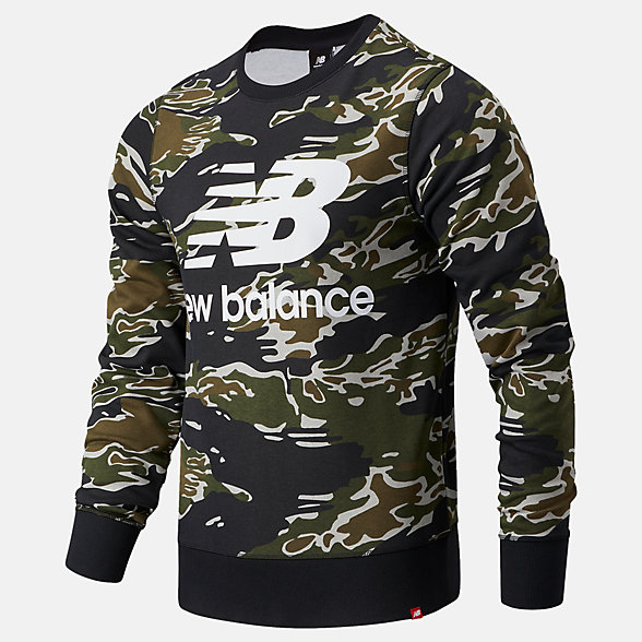 New Balance Essentials Stacked Logo Crew AOP, MT03561BM