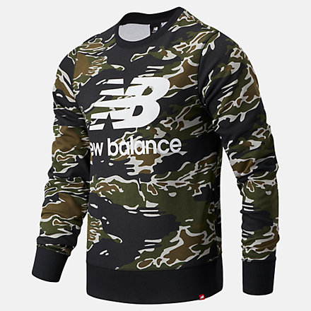 New Balance Essentials Stacked Logo Crew AOP, MT03561BM image number null