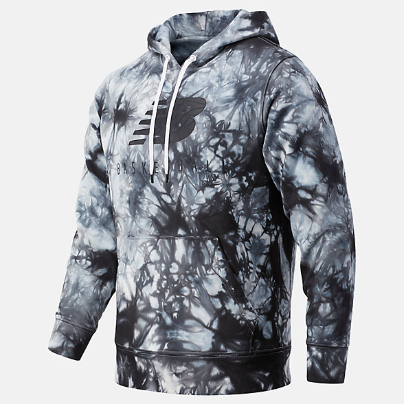 New Balance NB Basketball Blacktop Tie Dye Hoodie, MT03584BKM
