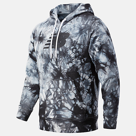 New Balance NB Basketball Blacktop Tie Dye Hoodie, MT03584BKM image number null