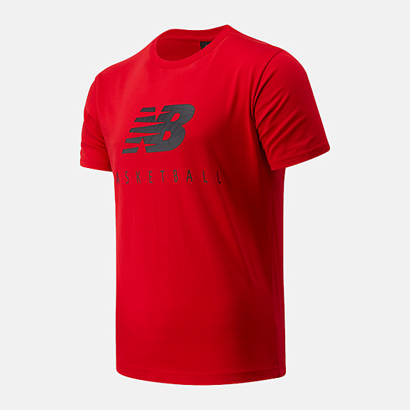 New Balance NB Basketball Blacktop Stacked Tee, MT03585REP