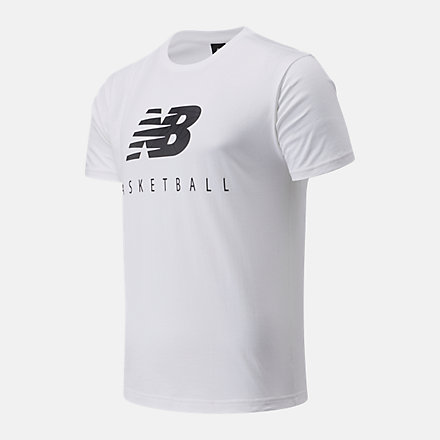 New Balance NB Basketball Blacktop Stacked Tee, MT03585WT image number null