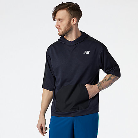 New Balance Tenacity Lightweight Knit Short Sleeve Hoodie, MT11026ECR image number null