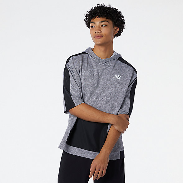 New Balance 男款休闲针织短袖连帽衫, MT11026HC