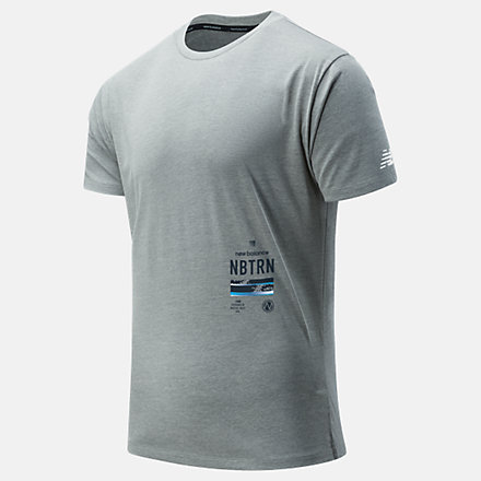 New Balance R.W.T. Graphic Heathertech Tee, MT11062AGM image number null