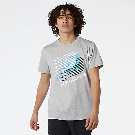 New Balance Graphic Heathertech Tee, MT11071AGT image number null
