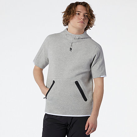 New Balance Fortitech Fleece Short Sleeve Hoodie, MT11137AG image number null