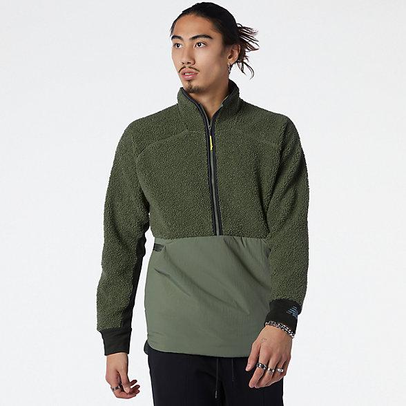 New Balance 男款半拉链拼接保暖外套, MT13285NSE