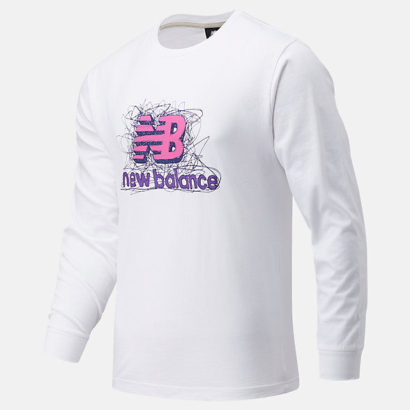 New Balance 男款印花长袖T恤, MT13565WT