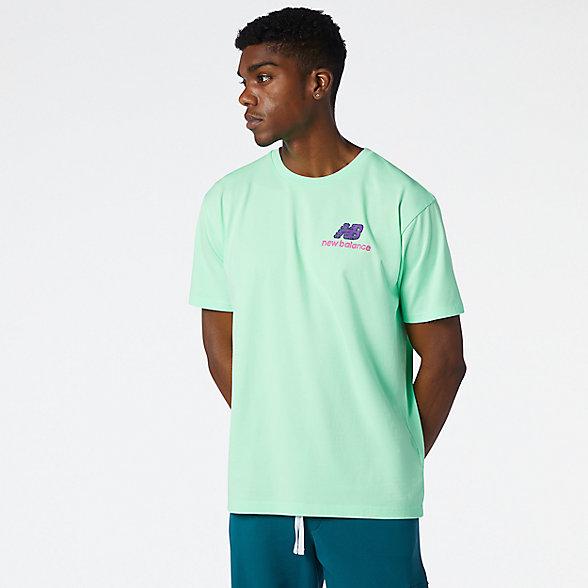 New Balance 男款印花短袖T恤, MT13566AEG