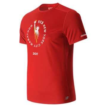 New Balance NYC Marathon NB Ice Short Sleeve, Energy Red