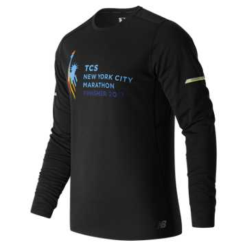 New Balance NYC Marathon Finisher NB Ice Long Sleeve, Black with White