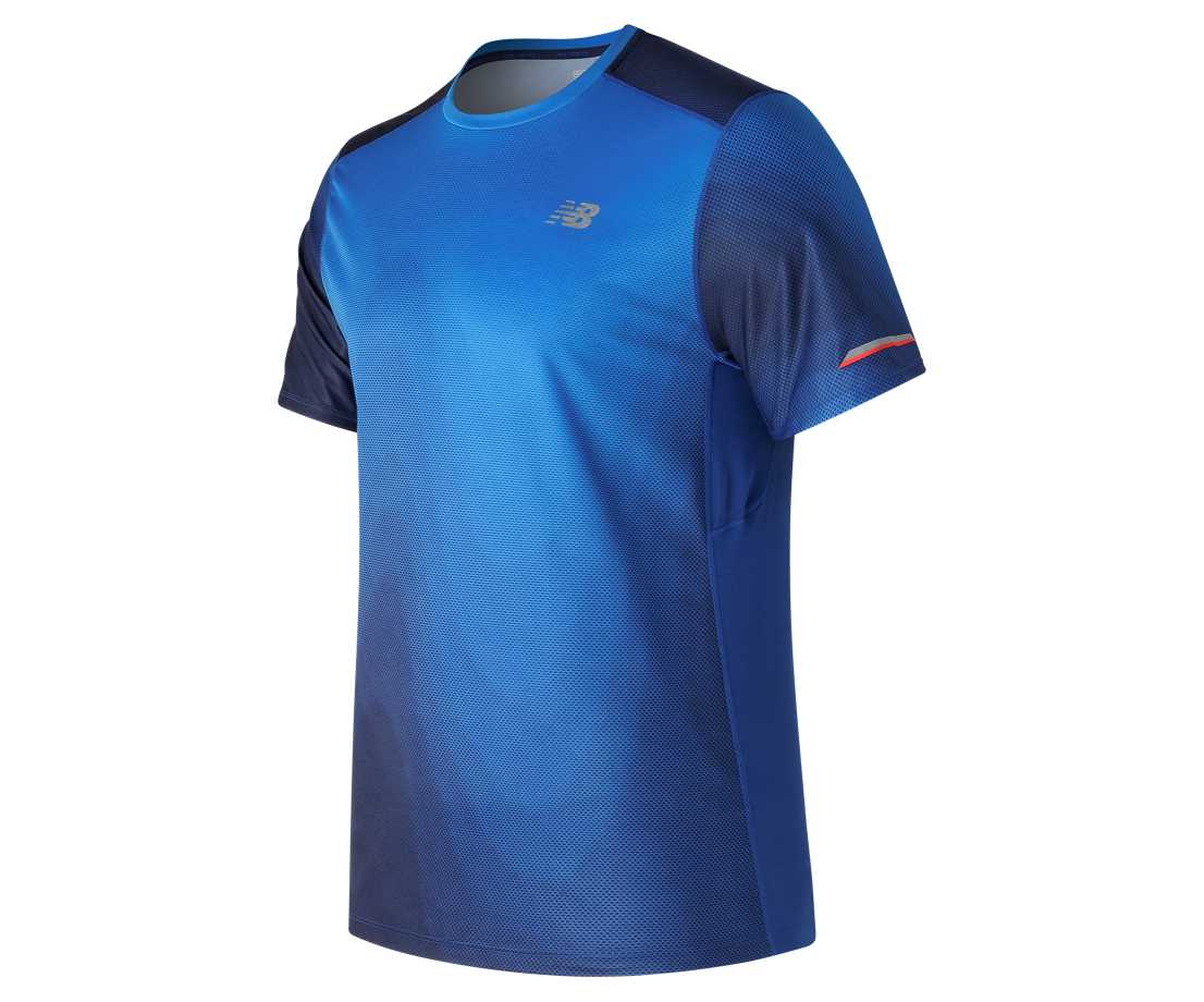 New Balance NB Ice Printed Short Sleeve, Infrared with Team Royal & Multi  Color