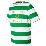 NB Celtic Mens Home Short Sleeve Shirt , White with Green