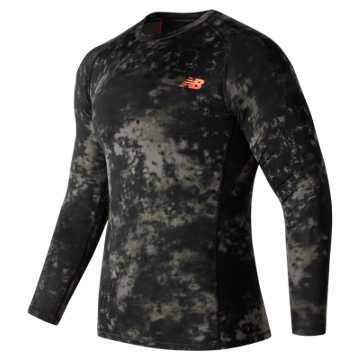 New Balance Challenge Printed Long Sleeve, Military Dark Triumph with Heat Zone Camo