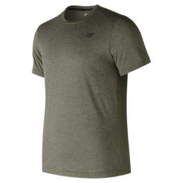 New Balance Heather Tech Short Sleeve, Dark Green Heather