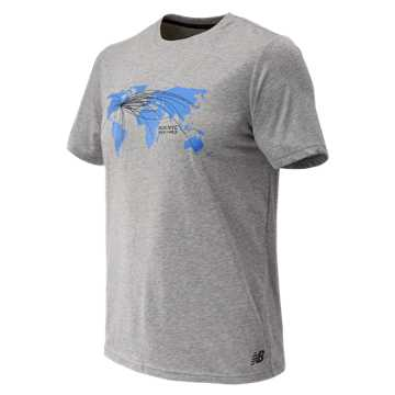 New Balance NYC Marathon Heather Tech Short Sleeve, Athletic Grey