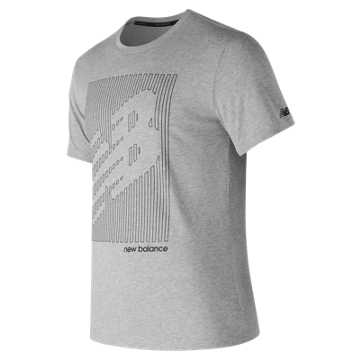 New Balance Heather Tech NB Graphic Short Sleeve, Athletic Grey