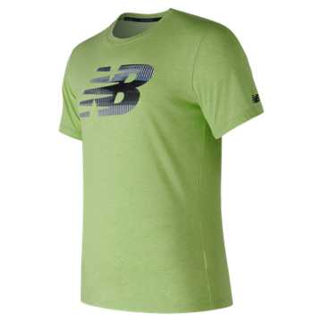 New Balance Heather Tech NB Graphic Short Sleeve, Energy Lime