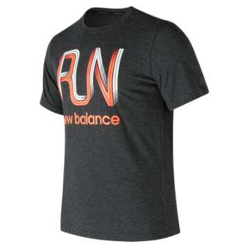 New Balance Heather Tech Run Graphic Short Sleeve, Black Heather