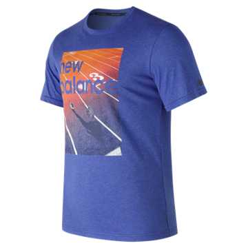 New Balance Heather Tech Run Graphic Short Sleeve, Team Royal