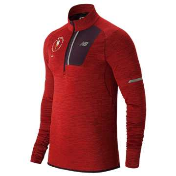 New Balance NYC Marathon NB Heat Half Zip, Team Red Heather